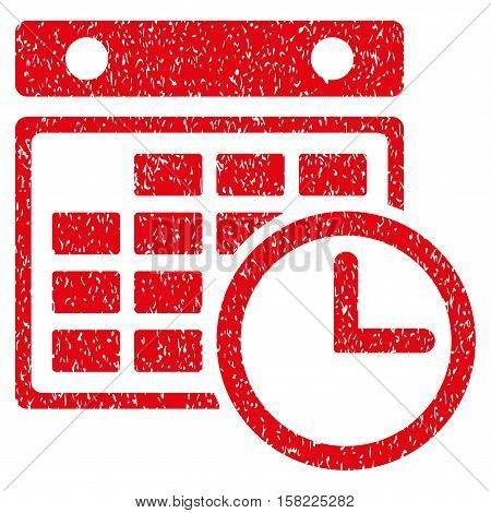 Timetable grainy textured icon for overlay watermark stamps. Flat symbol with scratched texture. Dotted vector red ink rubber seal stamp with grunge design on a white background.