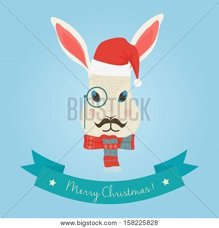 Christmas cute forest hare bunny rabbit head logo. Vector modern fashionable hipster hare rabbit animal in clothes