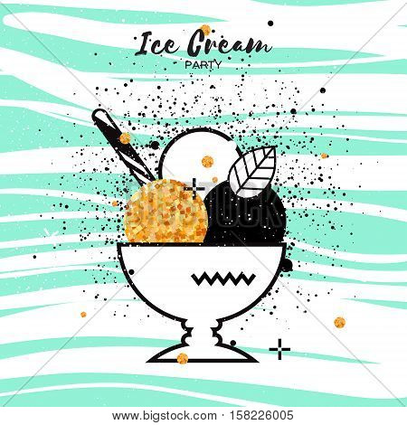Sweet Ice Cream with different flavor. Gold Glitter Dessert party time. Trio of tasty frozen dessert in a white bowl with wafer straw on blue stripes background. Vector illustration.