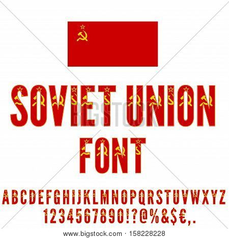 Soviet Union USSR National flag flat stylized Font. Alphabet and Numbers in Vector Set