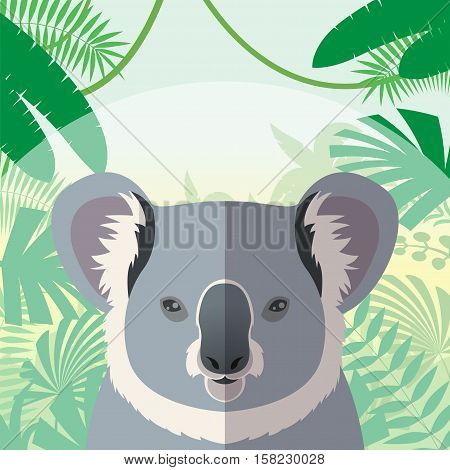 Flat Vector image of the Koala on the Jungle Background