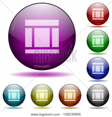 Three columned web layout color glass sphere buttons with sadows.