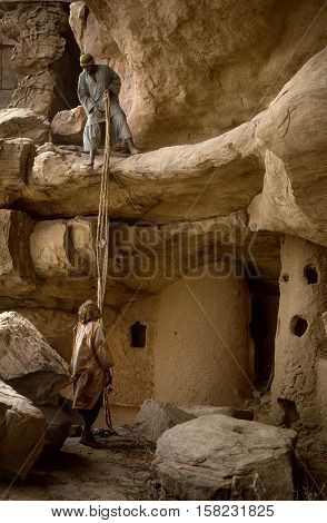 Mali, Africa - Dogon Village And Typical Mud Buildings