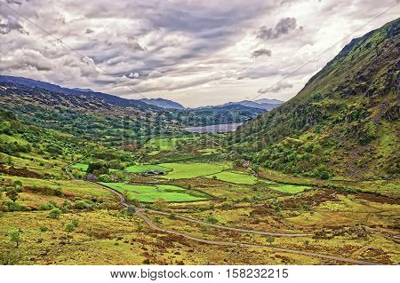 Beautiful Panoramic View Of Chain Of Mountains National Park Snowdonia
