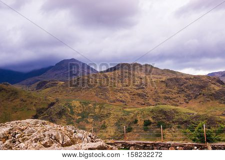 Beautiful Panoramic View On Chain Of Mountains Snowdonia National Park