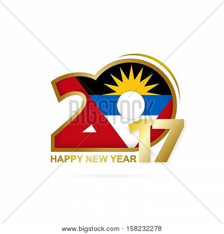 Year 2017 With Antigua And Barbuda Flag Pattern. Happy New Year Design On White Background.