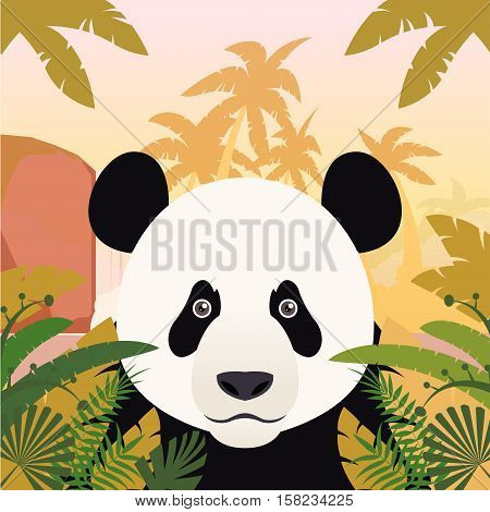 Flat Vector image of the Panda on the Jungle Background