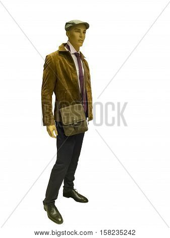 Full-length male mannequin wearing brown suede jacket isolated on white background.
