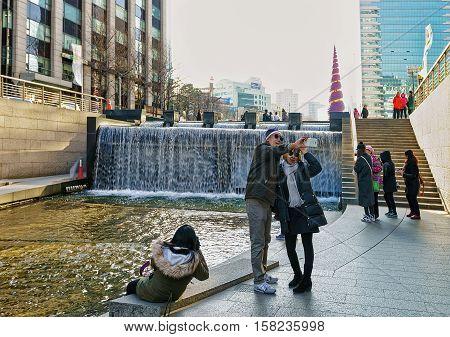 Cheonggye Stream And Recreation Walkway Of Seoul