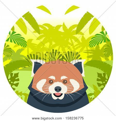 Flat Vector image of the Red Panda on the Jungle Background