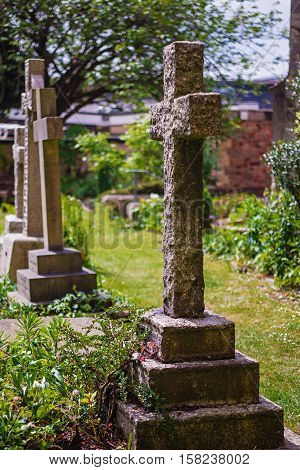 Crosses At Churchyard Cemetery At Bristol Cathedral Uk