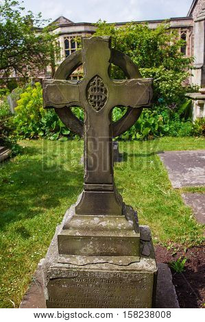 Cross At Churchyard Cemetery At Bristol Cathedral Uk