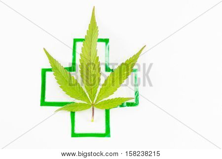 Cannabis Plant And Medical Sign.