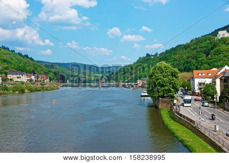 Embankment Of Neckar River And Bridge In Heidelberg In Germany