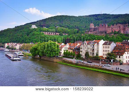 Embankment Of Neckar River And Ship In Heidelberg In Germany