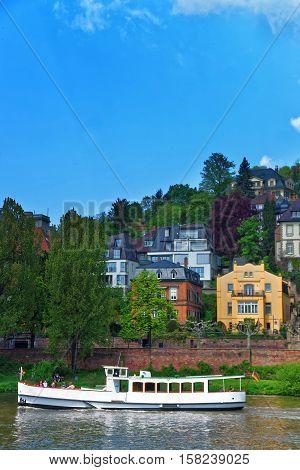 Embankment Of Neckar River And Ship In Heidelberg Of Germany