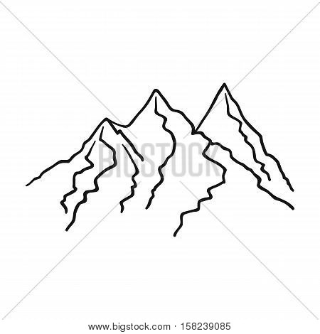 Mountain range icon in outline style isolated on white background. Ski resort symbol vector illustration.