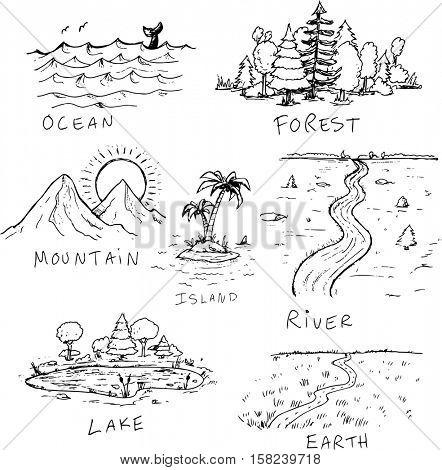 Hand drawn nature landscape illustrations