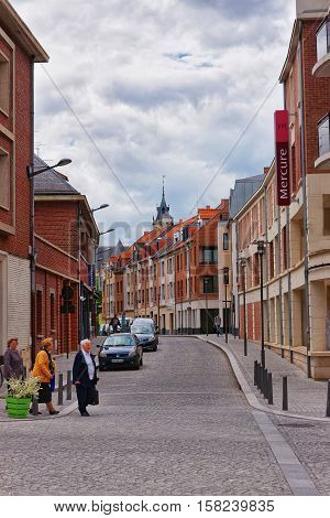 Flatters Street In City Center Of Amiens Picardy France