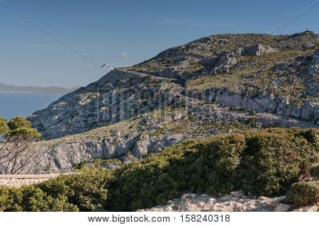 Serpentine road in the mountains. Mountain road on the west coast of Mallorca Spain.