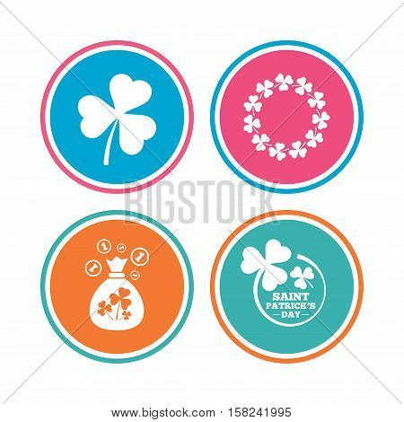 Saint Patrick day icons. Money bag with clover sign. Wreath of trefoil shamrock clovers. Symbol of good luck. Colored circle buttons. Vector