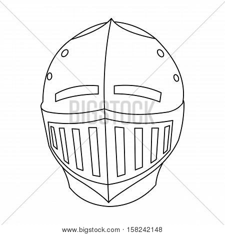 Medieval helmet icon outline. Single weapon icon from the big ammunition, arms outline.