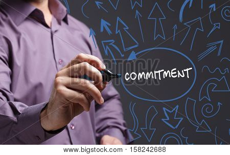 Technology, Internet, Business And Marketing. Young Business Man Writing Word: Commitment