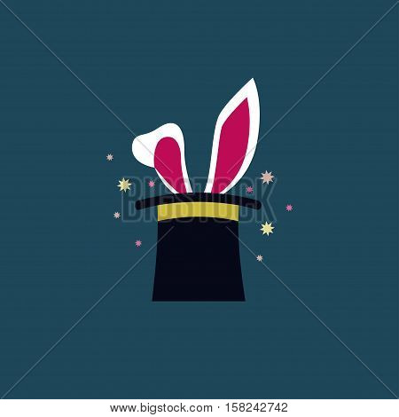 Rabbit in the hat Vector illustration Large rabbit ears sticking out from a cylinder hat Flat design