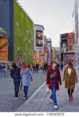 Korean Young People At Myeongdong Street Market In Seoul Asia