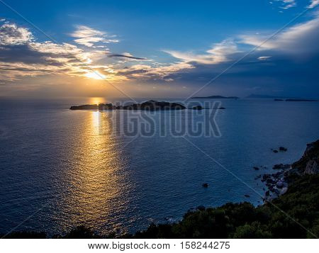 Agios Stefanos sunset on Corfu Greek island