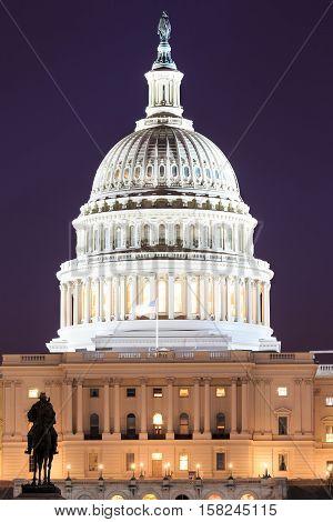 The United States Capitol building in Washington DC USA - night scene