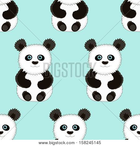 Seamless blue background with the image of cute funny Panda. Vector illustration. Good background for textile fabric wrapping paper.
