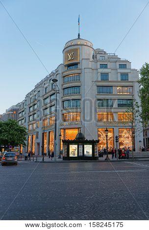 Louis Vuitton Flagman Store On Avenue Of Champs Elysees