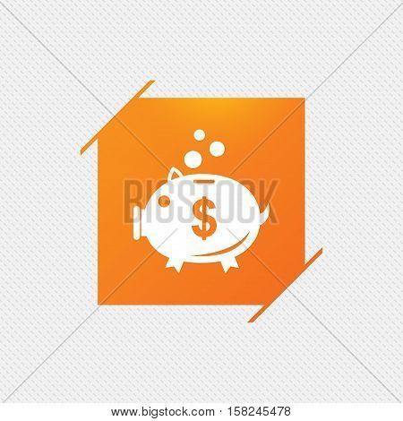 Piggy bank sign icon. Moneybox dollar symbol. Orange square label on pattern. Vector