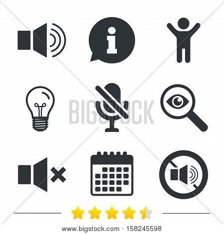 Player control icons. Sound, microphone and mute speaker signs. No sound symbol. Information, light bulb and calendar icons. Investigate magnifier. Vector