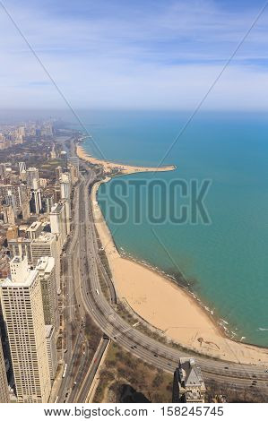 View of the city of Chicago from Hancock Center