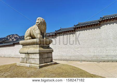 Mythological Lion Haechi At Gyeongbokgung Palace Gate In Seoul