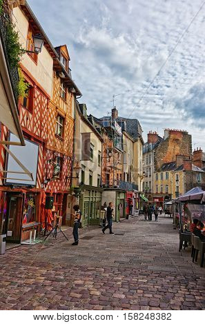 Old Houses At Champ Jacquet Square In Rennes Of France