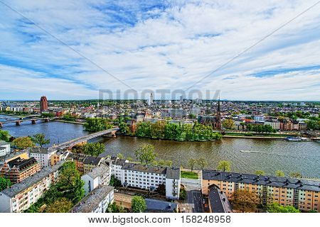 Panoramic View On Bridge Over Main River Frankfurt Am Main