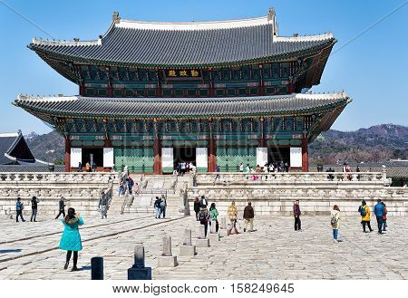 People At Throne Hall At Gyeongbokgung Palace In Seoul