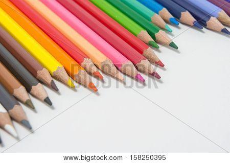 pencils color on white background pencils color group