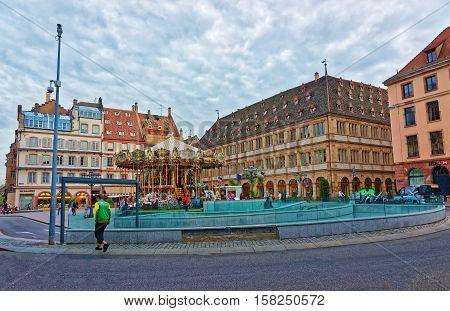 Place Gutenberg Square In Strasbourg In France