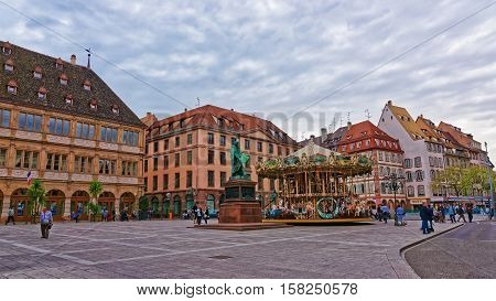 Place Gutenberg Square In Strasbourg Of France