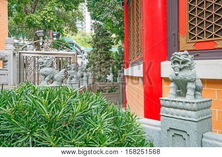 Religious Figures In Wong Tai Sin Temple Of Kowloon Hk