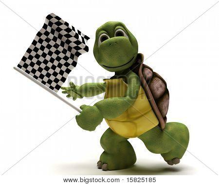 3D Render de una tortuga con una bandera a cuadros