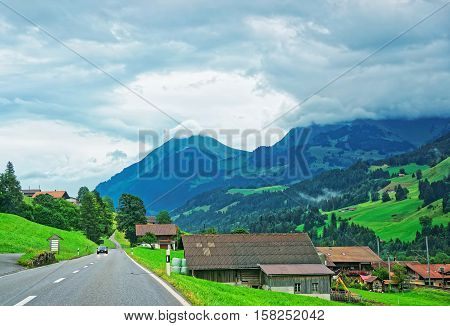 Roadway At Boltigen At Jaun Pass Fribourg Of Switzerland