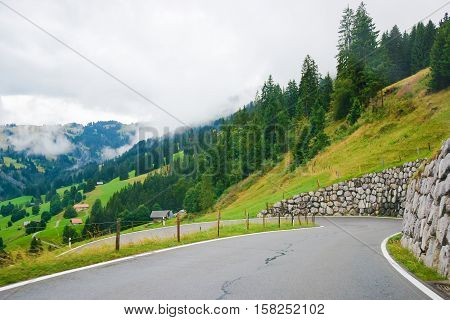 Roadway In Boltigen At Jaun Pass In Fribourg Of Switzerland