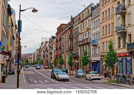 Rue Du Faubourg De Pierre Street In Strasbourg In France