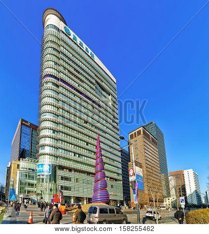 Spring Figure At Cheonggyecheon Stream And Cheonggye Plaza In Seoul