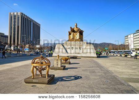 Statue Of King Sejong In Gwanghwamun Square In Seoul
